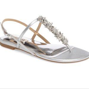 Badgley Mischka embellished Leather crystal sandal